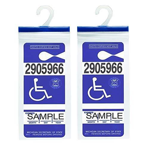 Handicap Parking Placard Holder - Disabled Parking Permit Holder Hanger Sleeve with Larger Hook by Tbuymax(Set of 2)