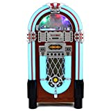 MonsterShop – Jukebox Style Rétro Années 50 à Eclairages LED Couleurs Changeantes avec Port USB, Bluetooth, AUX, Lecteur CD, lecteur de carte SD, Radio AM / FM