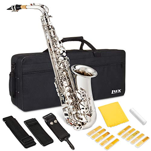 LyxJam Alto Saxophone E Flat Brass Sax Beginners Kit, Mouthpiece, Neck Strap, Cleaning Cloth Rod, Gloves, Hard Carrying Case With Removable Straps, 10 Bonus Reeds -Nickel Plated