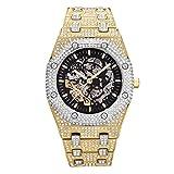 Fantex Bracelet de montre automatique avec squelette ajouré en acier inoxydable et zircone cubique - Bijou de luxe Hip Hop pour homme (Mixed)