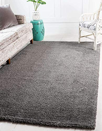 Unique Loom Solo Collection Solid Plush Kids Gray Area Rug (8' 0 x 10' 0)