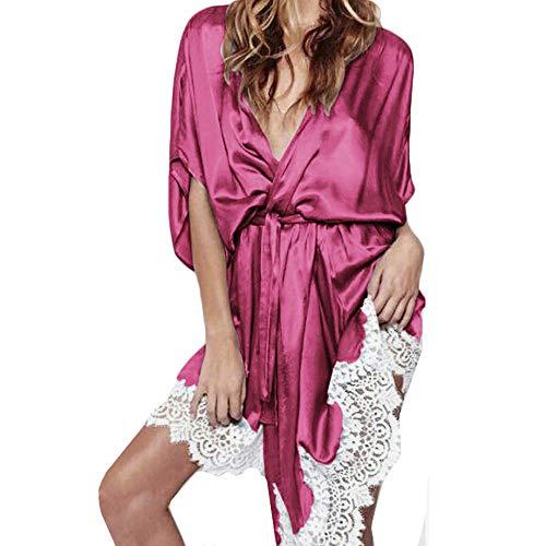 MRULIC Damen Morgenmantel Seide Spitze Robe Kleid Nachthemd Nachthemd Nachtwäsche Pyjama Lace Trimmed Overall Lose Nachtwäsche(Pink,EU-38/CN-L)