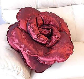 Cojín rojo rubí en forma de flor