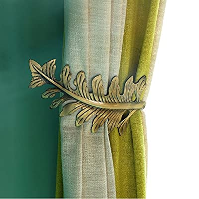 Chictie European Leaf Curtain Holdbacks Decorative Wall Hooks Hanger for Drapes Linen Holder Window Treatment Hardware,Set of 2 (Bronze)