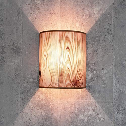 Dekorative Wandlampe Stoff in Holz Optik halbrund E27 Loft Wandleuchte Schlafzimmer Wohnzimmer Flur ALICE