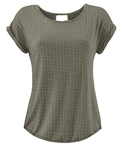 Yidarton T Shirt Damen Basic Tee Damen T-Shirt Damenblusen Kurzarm mit Allover-Minimal Print Lose Stretch Sommer Tops Grün XL