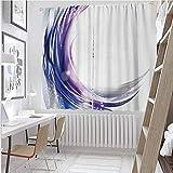Toopeek - Cortina opaca abstracta, diseño de onda artística con colores vibrantes, 2 paneles, color morado, azul y blanco