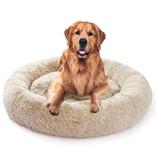 Fangqiyi Hundebett, Rund Hundekissen Hundesofa Katzenbett Donut, leicht zu entfernen und zu waschen, Haustierbett/katzenbettchen, 60-120cm