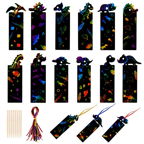 KESOTO 48 Pieces Dinosaur Scratch Paper Art Bookmarks,Dinosaur Craft Hanging Art Kits with 12 Wooden Styluses and 48 Ribbons for Dinosaur Birthday Party Favors