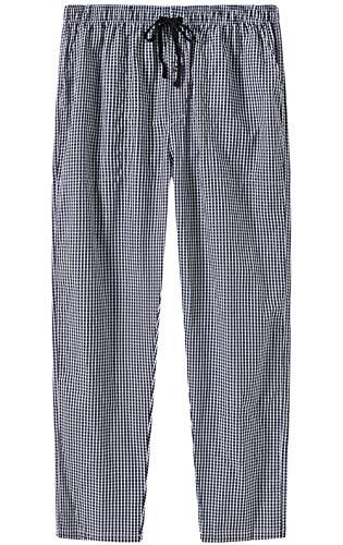 JINSHI Hombre Pantalones Largos de Pijama Algodón Casa Pantalón a Cuadros con Bragueta de Botón 3 Pack M