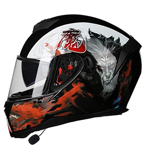 Casco Moto Integral,Casco Bluetooth Modular Motocicleta con Visera Solar de Alta Definición,ECE Homologado Adecuado Para Hombres Y Mujeres Altavoz Incorporado Motocross Casco A,XXL=62~63CM