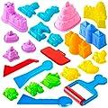 USA Toyz Sand Molds Beach Toys for Kids - 23pk Mini Sandbox Toys Sand Castle Building Kit with Kinetic Sand Molds and Kinetic Sand Tools Compatible with Any Molding Clay and Sand