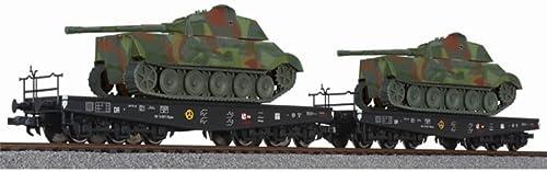 Liliput H0 2er Schwerlasttransport mit Panzer II
