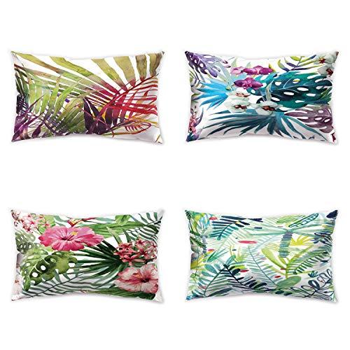 Hengjiang - Federa per cuscino in morbido peluche, motivo foglie verdi e piante, stampa fronte/retro, 30 x 50 cm