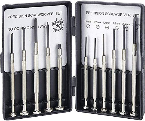 Schraubendreher Feinmechaniker Set, Mini Schraubendrehersatz 11 teilig, Uhrmacherwerkzeug Modellbauer, Laptop, Handy, Brillen