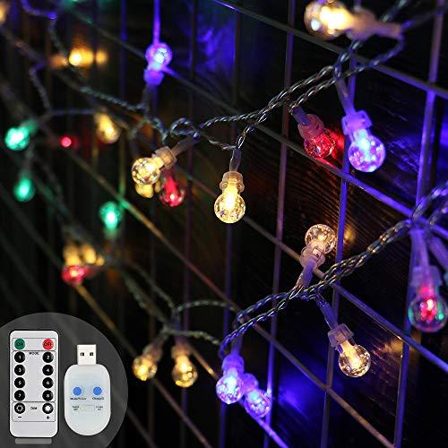 KOOPOWER - Guirnalda de luces para interior y exterior (blanco cálido), multicolor