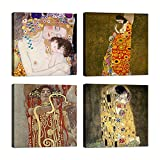 Cuadros Gustav Klimt 4 piezas 30 x 30 cm Impresión sobre lienzo con bastidor de madera decoración Arte decoración