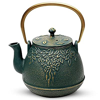 Tea Kettle, TOPTIER Japanese Cast Iron Tea Kettle with Infuser, Leaf Design Cast Iron Teapot Stovetop Safe Coated with Enameled Interior for 32 Ounce (950 ml), Dark Green