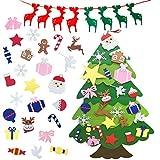 TATAFUN Fieltro Árbol de Navidad con 25 DIY Ornaments Desmontables y 1 Banner de Navidad, 3.67ft Regalos Colgantes de Navidad de la Pared para Niños Las Decoraciones de la Navidad