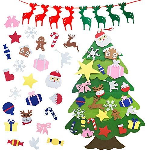 TATAFUN Feltro Albero Natale, 3.67FT Albero di Natale con 1 Banner di Natale 25 Ornamenti Staccabili DIY Natale Albero Regali di Natale dei Bambini Decorazione della Parete del Portello
