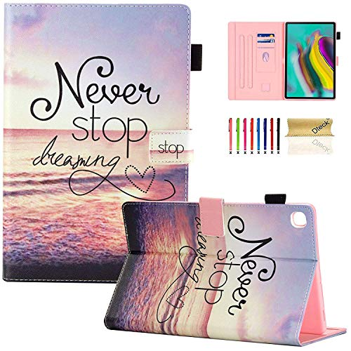 Dteck Case for Galaxy Tab S5e 10.5 2019 SM-T720/T725 - Slim PU Leather Multi-Angle Folio Stand Smart Cover with Card Holder for Samsung Galaxy Tab S5e 10.5 inch 2019 Release, Never Stop