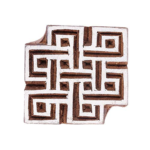 GroupB Wooden Printing Blocks – Hand Carved Wood Stamp Made from Wood with Square Shape Design for Fabric Printing, Clay Pottery, Crafts, Body Tattoo, Scrapbook Print and More – Design21