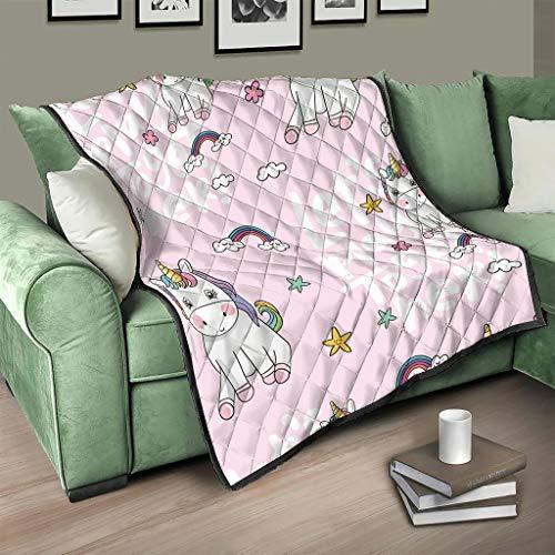 Flowerhome Colcha de unicornio con texto en alemán, colcha para cama, sofá, manta reversible, para sofá, cama, color blanco, 130 x 150 cm