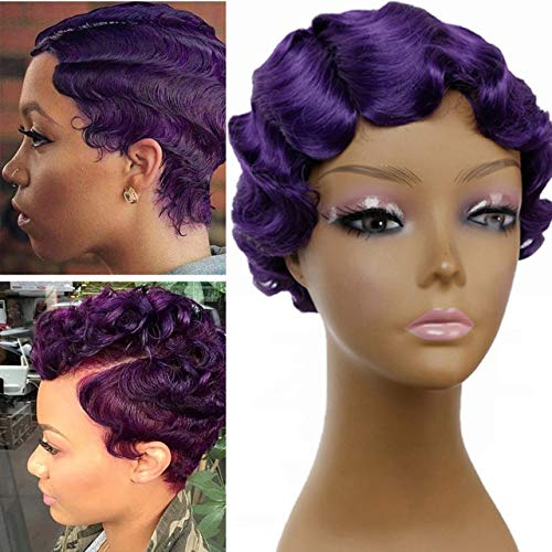 Short Wig Purple Curly Wigs Finger Wave Synthetic Hair Wig for Africa American Women Wigs Cosplay (purple)