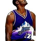 JIEBANG Jersey De Baloncesto para Hombres,Kǎrl Mǎlǒně 32# Jǎzz T-Shirt De Ventilateur Respirant Swingman Brodé,Tissu Respirant 100% Polyester,Chemise De Basketball Pour Hom Purple-M