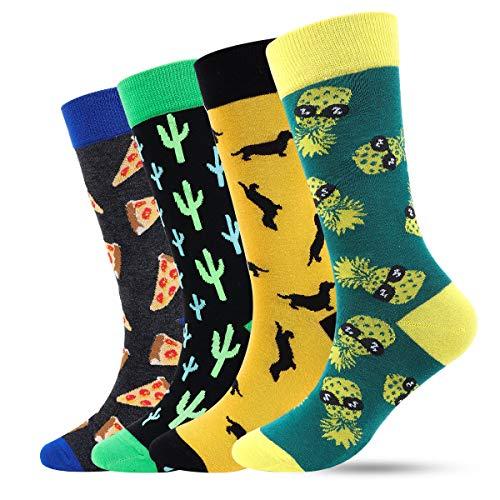 ECOMBOS Herren Socken Bunt - Baumwolle Socken Herren, Gemusterte Socken Muster Lustige Socken, Modische Socken Mehrfarbig Klassisch Baumwolle (Pizza-b), 4er Pack Einheitsgröße