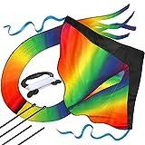 AGREATLIFE Riesiger Regenbogen-Leichtwinddrache mit bis zu 50m Drachenschnur - Lenkdrachen Windvogel für Kinder - Flugdrachen Einleiner - inkl. eBook zum Download - Fliegt wie 'ne Eins