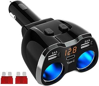 GemCoo USB Tipo C Cargador de Coche Encendedor de Cigarrillos 80W, 12V/24V Adaptador de Corriente de Coche con Dos Puertos de Carga USB para GPS, iPhone, Android (2 Ports)