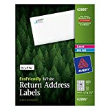 Avery eco - friendly Retrun Address Labels, White, 0.66 x 1.75 inches, Pack of 600 (42895)