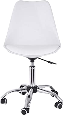US Fast Shipment, Modern White Armless Office Chair Mid Back Ergonomic Swivel Rolling PU Leather Computer Desk Chair Adjustable Height No Arms Foam Cushions Seat Task Chair Without Arms