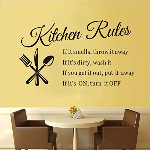 Küche Restaurant Küche Regeln Wandaufkleber Wasserdichtes Vinyl Besteck Wanddekoration Aufkleber Pvc Abnehmbare Wohnkultur 74 * 43Cm
