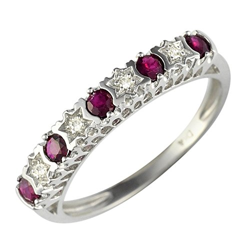 Ivy Gems 9ct White Gold Ruby & Diamond Stars Eternity Ring - Size R