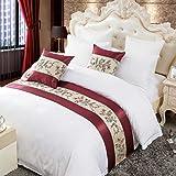 OSVINO - Camino de cama con bordado floral clásico, 100% poliéster, protección para dormitorio, hotel, poliéster, Rojo, matrimonio grande