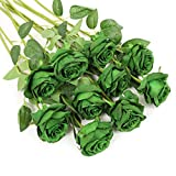 Veryhome Artificial Flowers Silk Roses Real Touch Bridal Wedding Bouquet for Home Garden Party Floral Decor 10 Pcs (Blooming Rose - Dark Green)