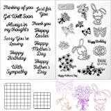 4 Pieces Crafts Words Clear Stamps Happy Father's Day Butterfly Rabbit Craft Stamps and Acrylic Stamp Blocks Clear Stamping Tools with Grid Lines Set for DIY Card Scrapbook Making Decors