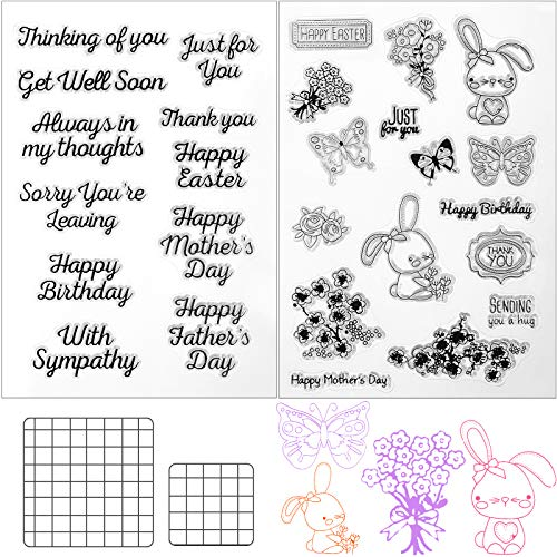 4 Pieces Crafts Words Clear Stamps Happy Mother's Day Butterfly Rabbit Craft Stamps and Acrylic Stamp Blocks Clear Stamping Tools with Grid Lines Set for DIY Card Scrapbook Making Decors