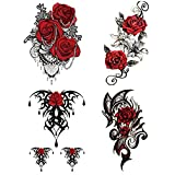 Yesallwas 4 Sheets Large Temporary Tattoo Sticker Fake Tattoos for Women Girls Models,Waterproof Long Lasting Body Art Makeup Sexy Realistic Arm Tattoos -Rose, Flowers,Jewelry 5.9x8.26inche (A)