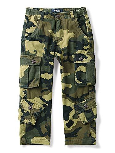 Aeslech Pantalones cargo para niños, 8 bolsillos, pantalones casuales de viaje al aire libre