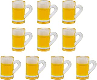 AUEAR 10 Pieces Lovely Plastic Beer Cup Mug Model Dollhouse Mugs Miniature Cups for Miniature Dollhouse Accessories