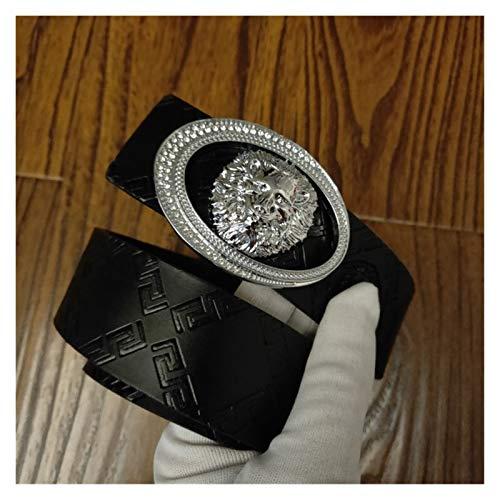 Without logo ZCPCS Cinturón de Hombre Cinturón de diseño de Lujo Cinturón de Cuero Juvenil Smooth Hebilla Cinturón de Hombre Moda Retro Pantalones Casual Cinturón (Belt Length : 125cm, Color : 24)