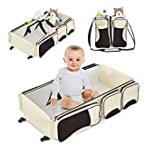 Costzon 3 in 1 Foldable Portable Baby Travel Bag, with 3 Storage Pockets on The Both Side, Waterproof Oxford Portable Changing Station, Travel Changing Diaper Bag with Fitted Sheet (Beige)