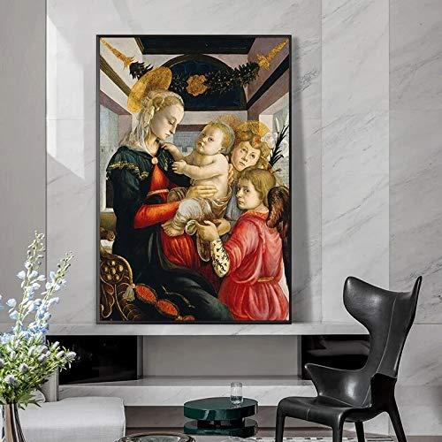 wZUN Pinturas Famosas de la Virgen y el Niño y la Pintura al óleo Infantil sobre Lienzo 60x90 Sin Marco