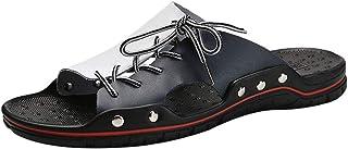 GBZLFH Infradito da Uomo, Sandali da Spiaggia Estivi e Pantofole Uomo, Eleganti Pantofole in Pelle Bicolore comode e Trasp...