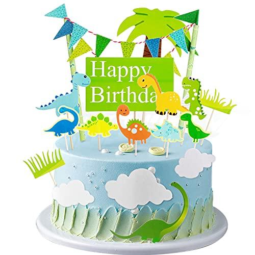 Crazy-M 15 decorazioni per torte, dinosauro, decorazione per torte, decorazione per dolci, ghirlande, blu e verde, per bambini, ragazzi e ragazze, feste di compleanno