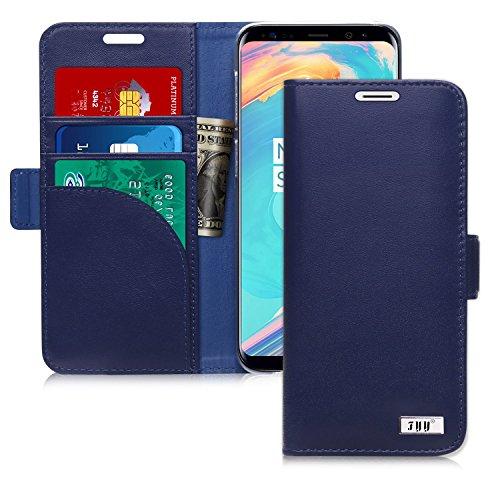 FYY Coque Samsung Galaxy S9, Coque Galaxy S9, [Véritable Cuir] Étui Portefeuille fabriqué à la Main avec [Technique RFID] et [Fonction de béquille] pour Samsung Galaxy S9 Bleu Foncé