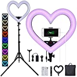 JJIIEE Selfie Ring Light with Tripod, 19 Inch LED Heart-Shaped Ring Light, 360° Rotatable Ring Light Stepless dimming with USB Output Port for YouTube Video/Photography